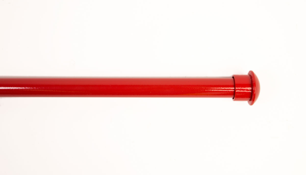 "1-1/4"" Iron, Painted Neon Red with Domed Cuff Finial"